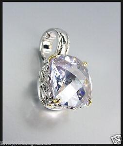 Designer-Style-Silver-Gold-Balinese-Filigree-Lavender-Topaz-CZ-Crystal-Pendant