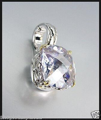 Designer Style Silver Gold Balinese Filigree Lavender Topaz CZ Crystal Pendant