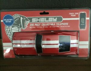 Push-Button-Phone-Ford-Shelby-Mustang-GT-500-Red-White-Racing-Stripes-New-In-Box