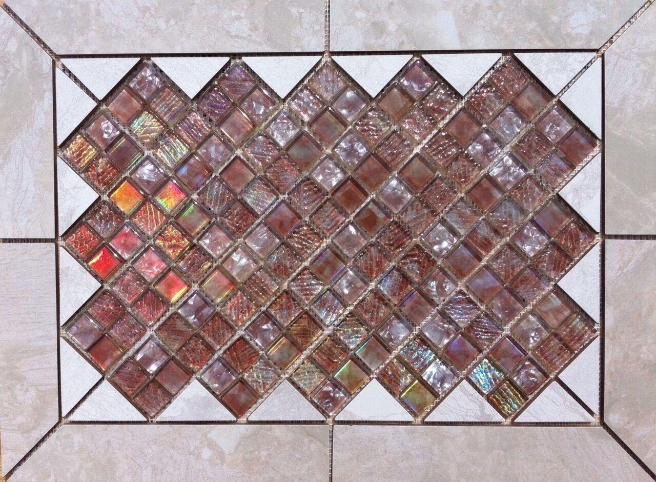 21 5 16  X 15 3 4  Tile Medallion - Daltile Marble Falls & Aruba glass