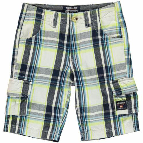 Enfants Garçons Soulcal Checked Short Cargo Junior Coton Neuf