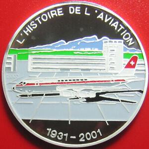 2003-BENIN-1000-FRANCS-SILVER-PROOF-DOUGLAS-DC-8-JET-AIRLINER-AIRPORT-AVIATION