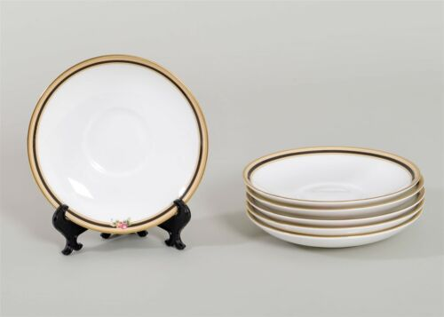 """Set of 6 Wedgwood CLIO Saucers Leigh Shaped Fine China 5.75/"""" Floral Gold Trim"""