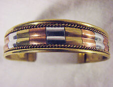 Three Tone Metal COPPER Brass Silver Healing Energy Adjustable BRACELET Jewelry