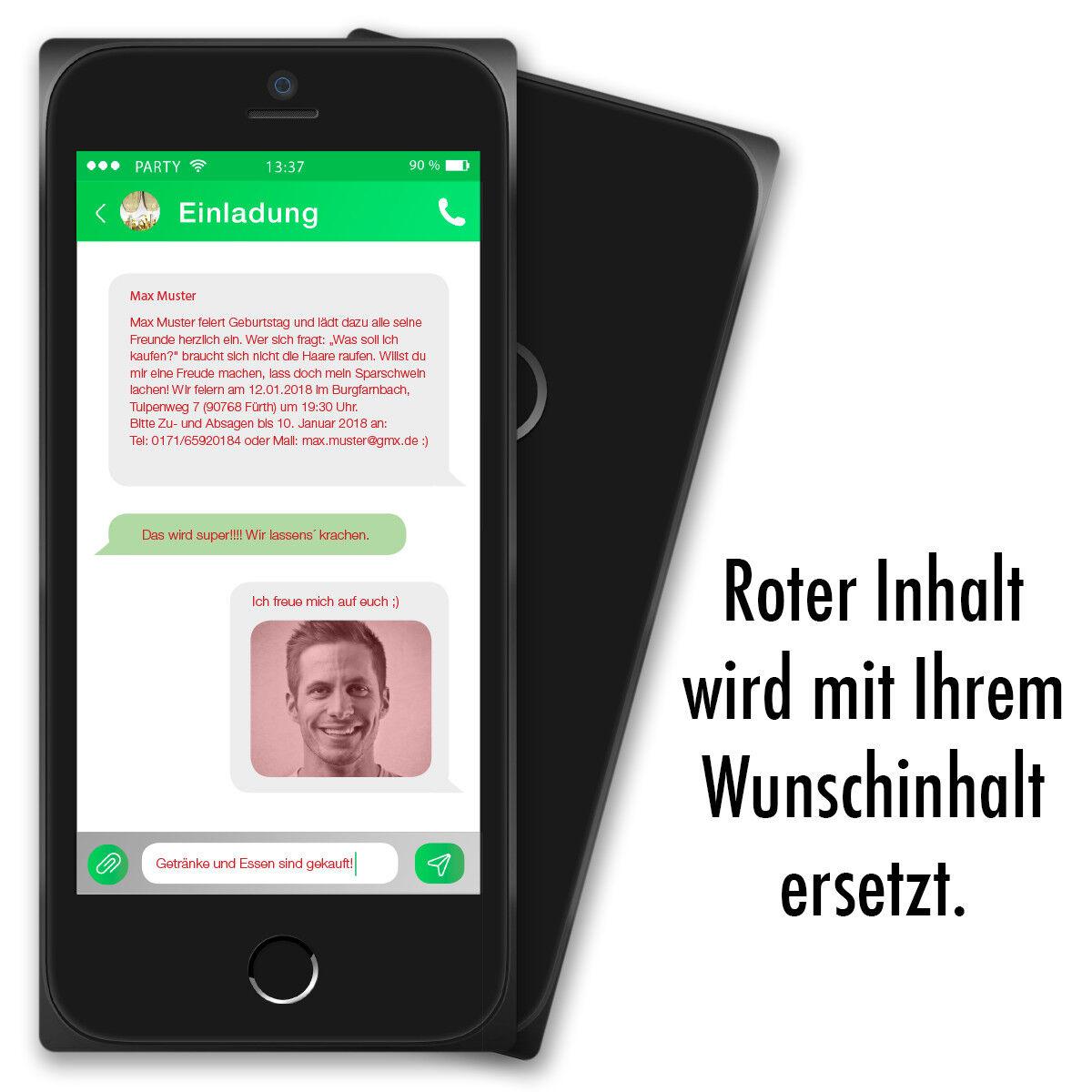 Einladung zum Geburtstag als Smartphone Einladungskarten Handy 18 18 18 30 40 50   | Sale Online  | Förderung  8cc38f