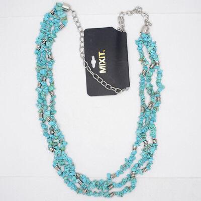Mixit bijoux argent antique véritable pierre Turquoise triple épaisseurs Collier