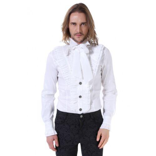 """Homme Gothique Steampunk//Occasion Blanc volants devant col cravate /""""Pentagramme/"""" shirt"""