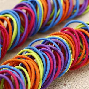 100pcs-elastique-Bande-Chouchou-a-Cheveux-Couleur-Mixte-Extensible-Fille-Enfant
