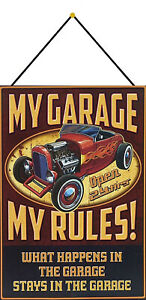 My-Garage-Rules-Tin-Sign-Shield-with-Cord-7-7-8x11-13-16in-FA0308-K