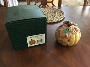 NIB FITZ And FLOYD THANKSGIVING Banquet Autumn Harvest Pumpkin Bowl Box With Lid