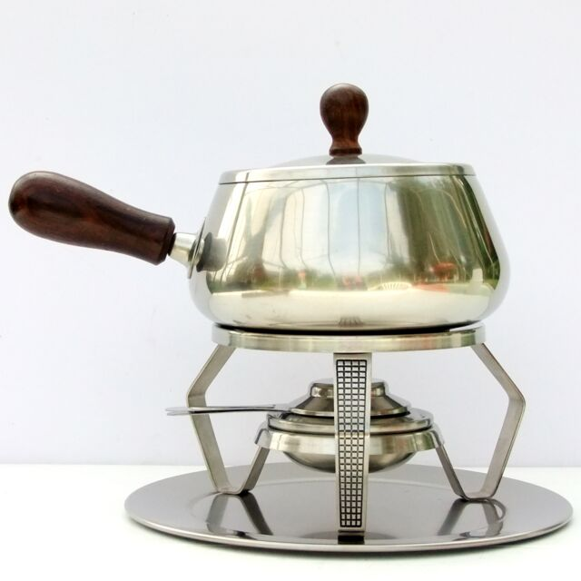 Vintage Retro Danish Rostfrei Stainless Steel Fondue Pot Forks Set
