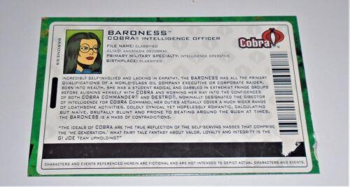 G I JOE File Card Filecard      2004 Baroness V6