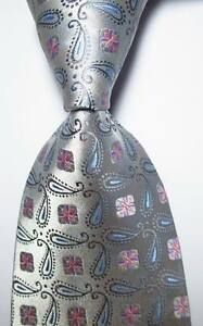 New-Classic-Paisley-Silver-Gray-Blue-JACQUARD-WOVEN-100-Silk-Men-039-s-Tie-Necktie