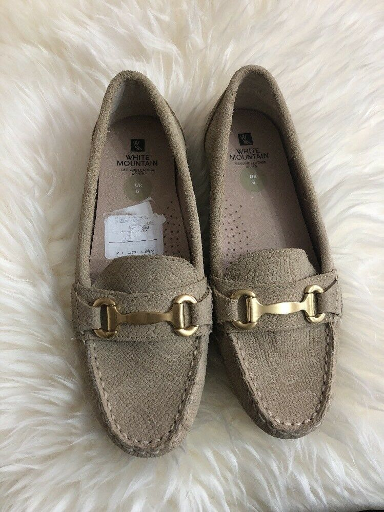 White Mountain Light Brown Beige Genuine Upper Leather Loafers Flats Size UK 6