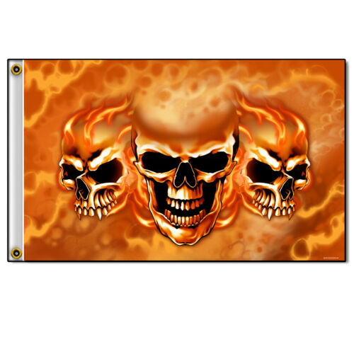 Burn It Up Skulls  MOTORCYCLE FLAG BIKER FLAG 3/' X 5/'