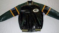 Green Bay Packers Nfl Team Apparel Faux Leather Jacket Men's M L Xl 2x Black