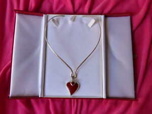 Vtg-MEXICO-RED-JASPER-HEART-Within-The-HEART-Sterling-Silver-925-CHOKER-NECKLACE