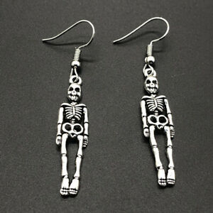 Details About Silver Skeleton Skull Dangle Earrings For Women Jewelry Party Gifts