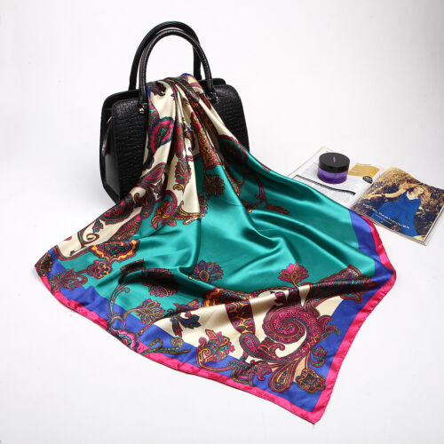 "Women/'s Fashion Soft Satin Square Scarf with Paisley Printed Head Shawl 35/""*35/"""
