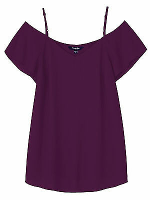 SimplyBe Deep PLUM Cold Shoulder Shortsleeved Blouse Top - Plus Size 20 to 32