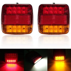 Coppia-Fanali-Luci-Posteriori-12V-A-LED-Per-Camion-Rimorchio-Autocarro-Lampade