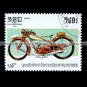 JAWA-175-SPORT-VILLIERS-1932-30-039-s-CAMBODGE-Timbre-Moto-Motorcycle-Stamp-19
