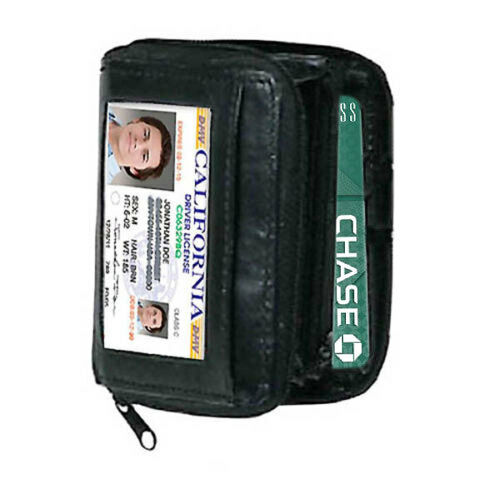 BLACK LEATHER WOME WALLET ACCORDION ID Window Coin Credit Card Zipper Holder
