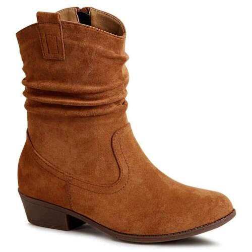 Damenschuhe Velours Stiefeletten Western Cowboy Stiefel Halbstiefel Booties