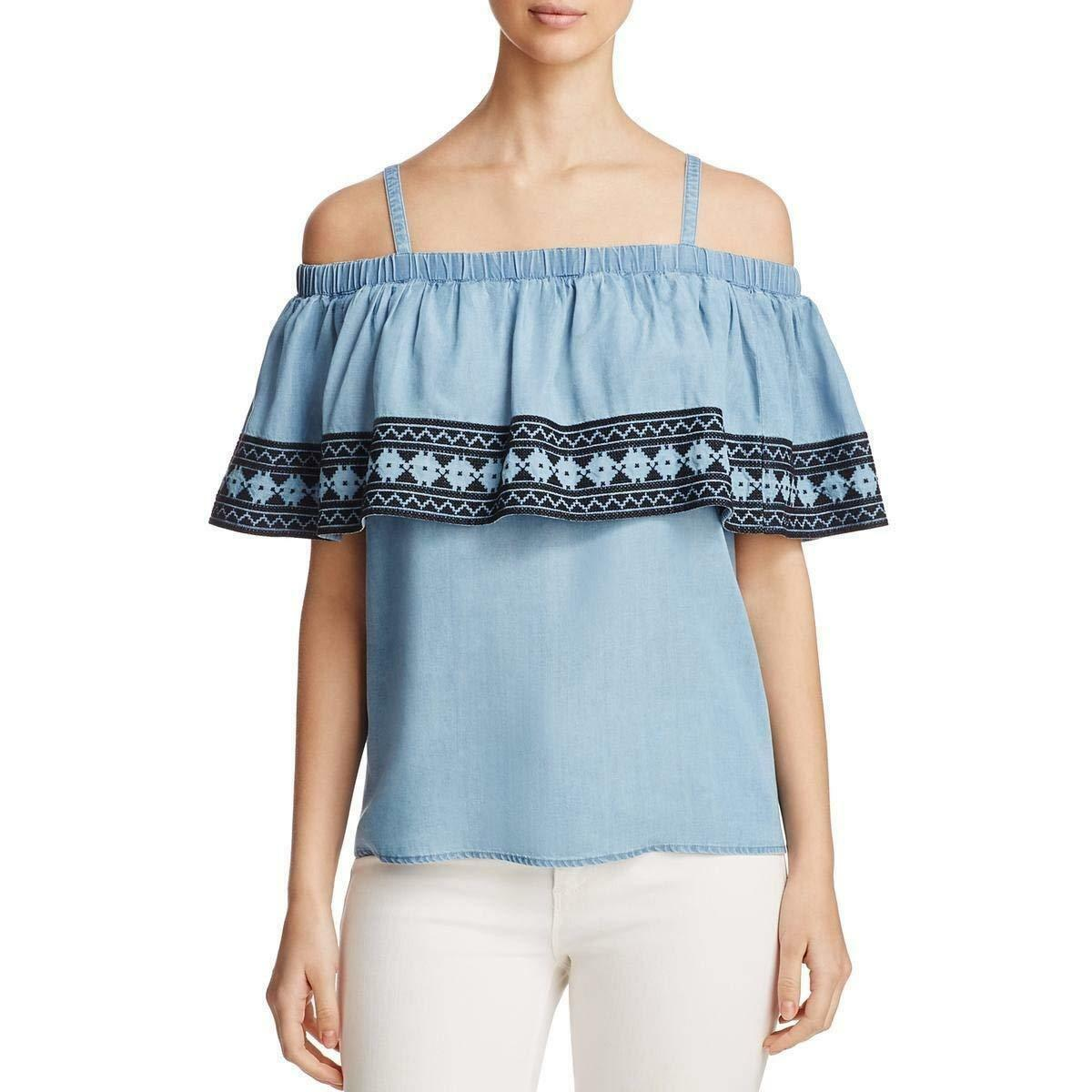 NEW Bagatelle Ruffle Cold-Shoulder Top Jean bluee Off The shoulder Blouse DENIM