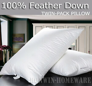 Pure-330TC-Cotton-Covered-100-Duck-Feather-Down-Standard-Size-White-Pillow-2PC