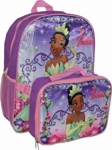 "Princess Girl/'s Tiana 16/"" Backpack W// Detachable Lunch Box"