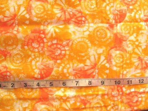100/% Cotton Fabric White with Circles in Oranges /& Orangish Yellows