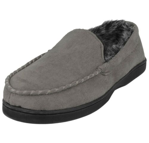 Mens Faux Suede Two Tone Warm Fur Lined Slip On Warm Moccasin Slippers Size UK