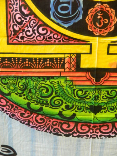 Tagesdecke Om Mandala bunt 230x210cm Baumwolle Indische Decke Deko