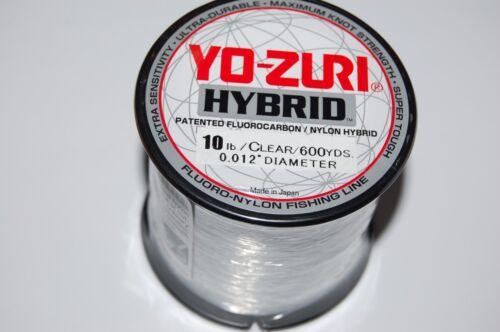 yo zuri fluorocarbon nylon hybrid 10lb lo-vis clear 600yds spool fishing line