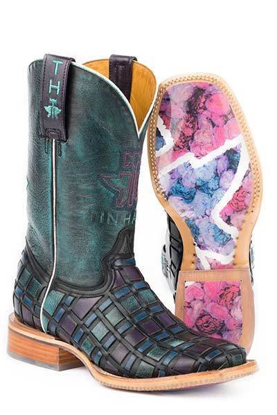 Ladies Womens TIN HAUL Multi color pink Weave Square Toe Leather Cowboy Boots