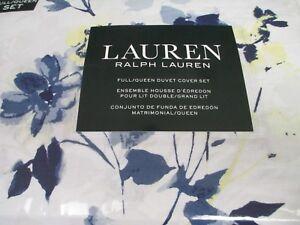 New Ralph Lauren White Blue Yellow Watercolor Floral Duvet