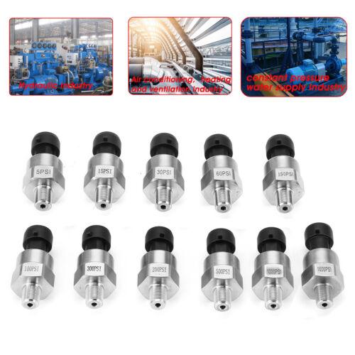 5V Water Oil Fuel Pressure Transducer Sender Sensor 15 100 300 500 1000 1600