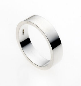 Image Is Loading Wedding Ring Flat Solid Sterling Silver Band
