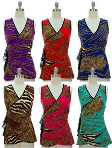 NWT-Women-Sleeveless-Surplice-Tunip-Front-Top-Ruched-Waist-Animal-Print-S-L