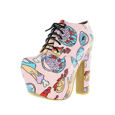 IRON FIST LADIES GLAMOUR GUTS SUPER PLATFORM BOOTIE SHOES PINK (R25A)