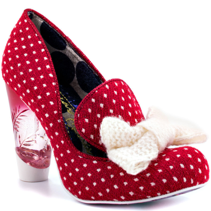 IRREGULAR CHOICE BOWFULLY RED WHITE SHOES 6 WILD PUMPS POLKA DOTS YARN BOW NIB
