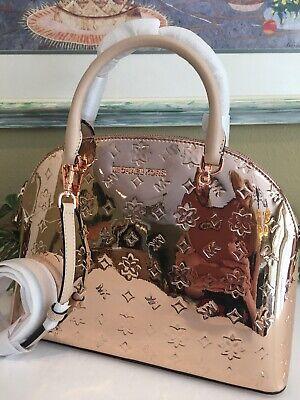 MICHAEL KORS EMMY LARGE DOME MIRROR METALLIC SATCHEL SHOULDER BAG ROSE GOLD $378 | eBay
