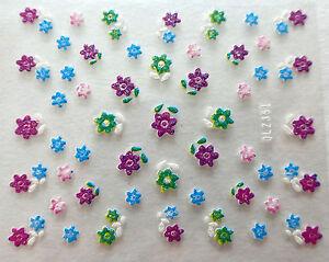 Accessoire-ongles-nail-art-Stickers-autocollants-fleurs-multicolores