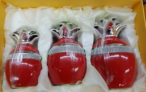 RED PINEAPPLE JARS SET OF 3 TEA SUGAR COFFEE BISCUIT ROMANY ORNAMENTS STORAGE