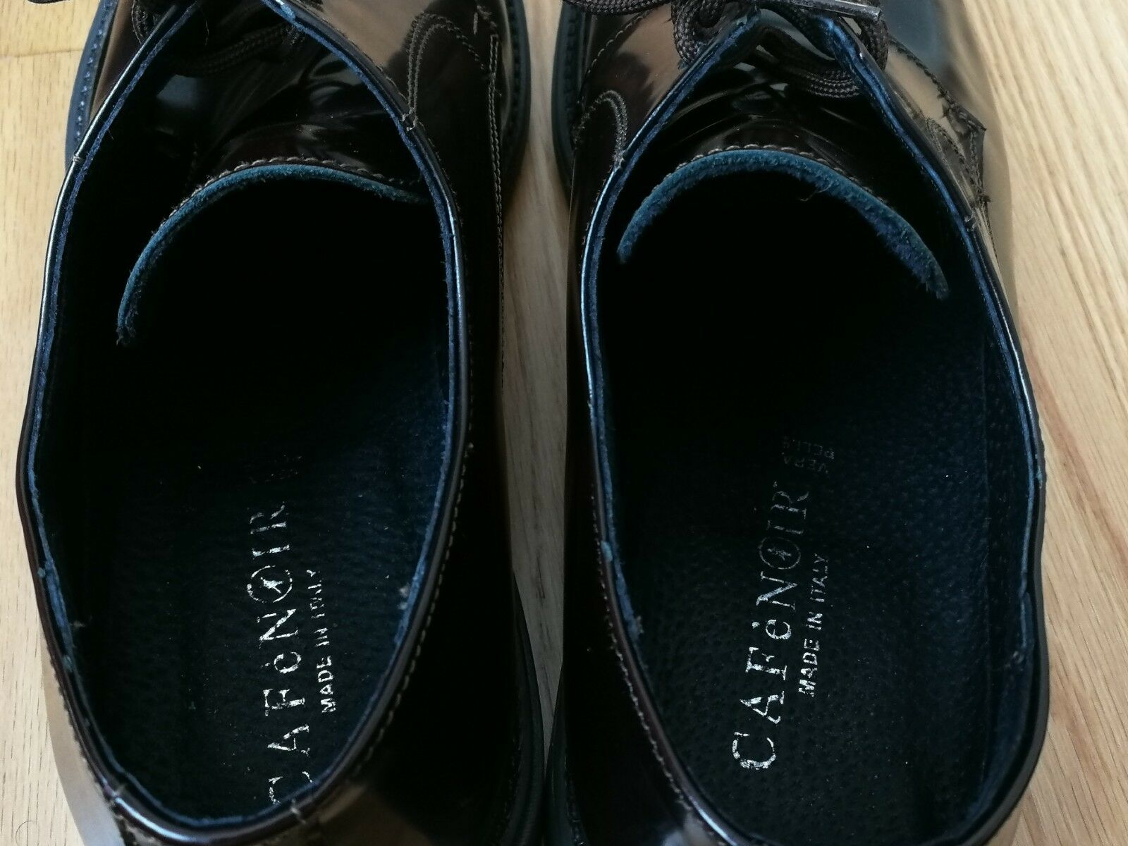 CAFEnero Uomo Marrone patent leather leather leather lace-up scarpe Dimensione 10 in excellent condition 5acddd