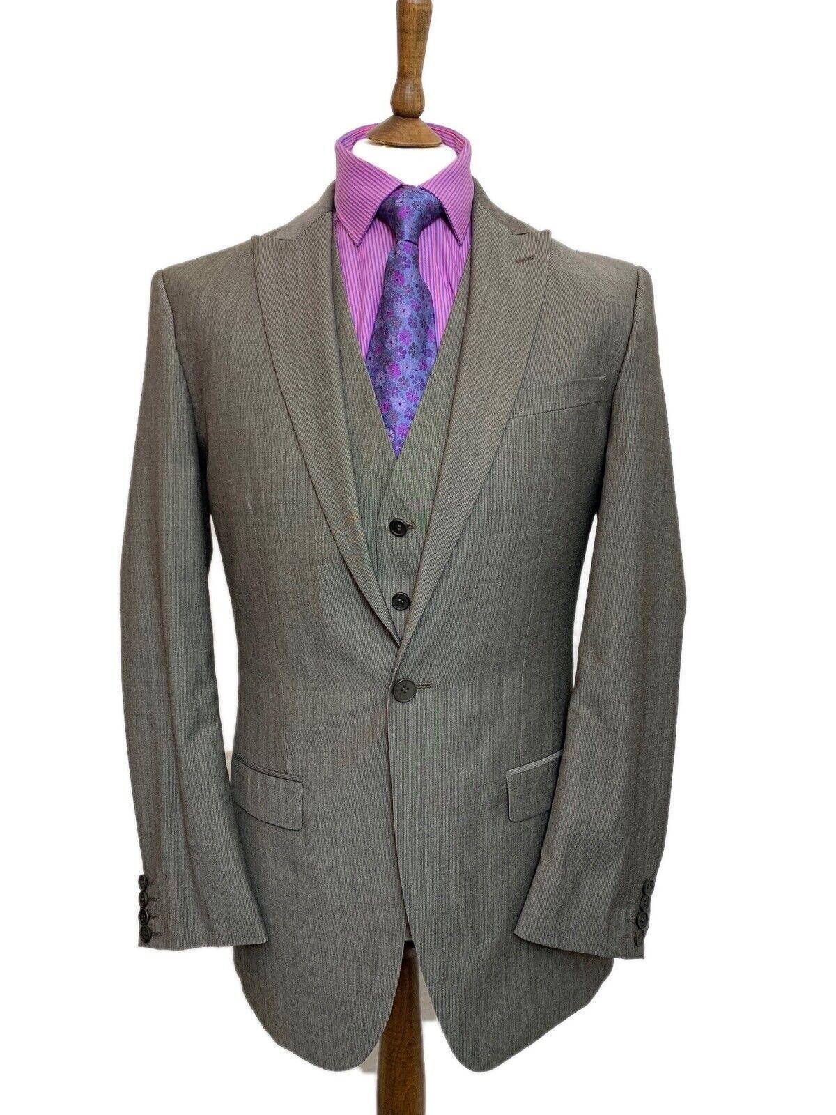 Marks & Spencer 3 piezas traje. 38  largo Mezcla de Lana traje con chaleco W34 L33  promocionales de incentivo