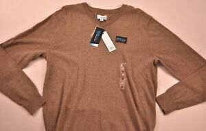 Men-039-s-Sonoma-sweater-size-medium-taupe-solid-long-sleeve-cotton-blend-v-neck-new