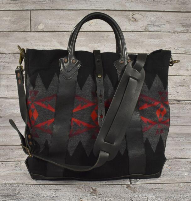 Ralph Lauren Rrl Vintage Leather Wool Southwestern Indian Blanket Tote Bag New