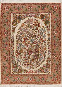 Breathtaking-Floral-IVORY-Bidjar-Oriental-Area-Rug-Hand-Knotted-Wool-Carpet-5x7